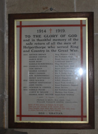 photo of St Peter (roll of honour)